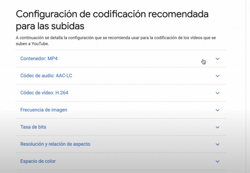 configuracion de exportacion youtube